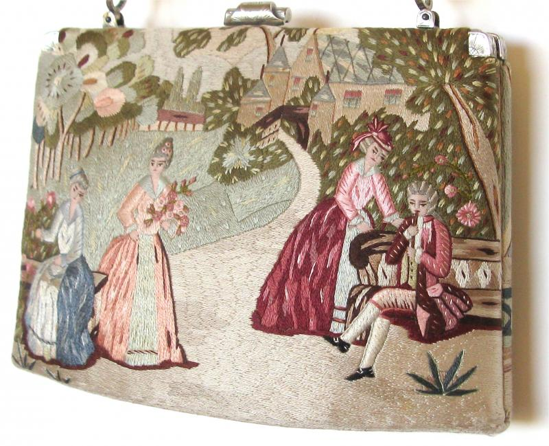 rare 1920's embroidered handbag with 3d figures