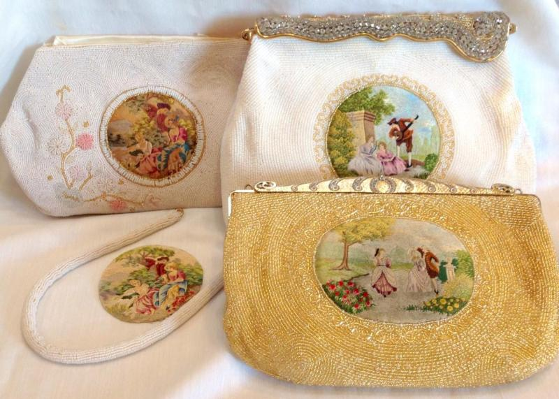 1940's satin stitch embroidered purse with beaded surround & purse base